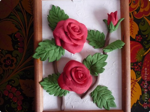 Слепила эти розы давно, но собрать их в картину оказалось проблемно. Не судите строго ведь это первый опыт))) фото 1