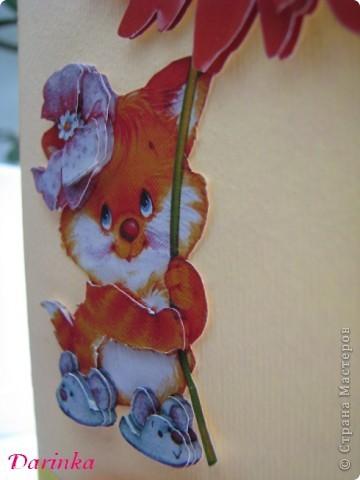Приветствую всех,кто зашёл в гости!!!! Для сестрёнки придумалась такая вот открытка к 8 Марта! Квиллинговые открытки у неё есть,захотелось сделать что-то другое.И получилось вот что... фото 2