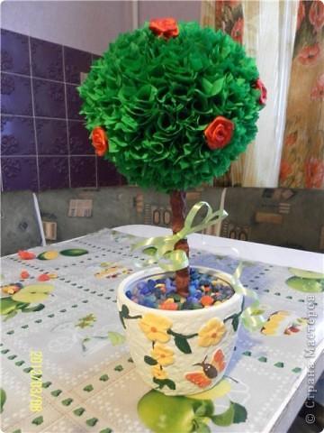 К 8 марта в подарок любимой бабушке решила сделать дерево с розами. А вот и сам подарок. Буду благодарна за комментарии.