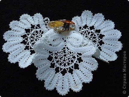 Жабо для украшения платья. Сплетено из белых ниток х/б, белого ириса. фото 4