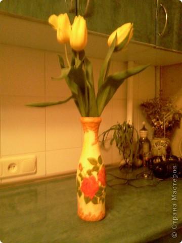 Превращение стекляной бутылки в симпатичную вазочку;) фото 3