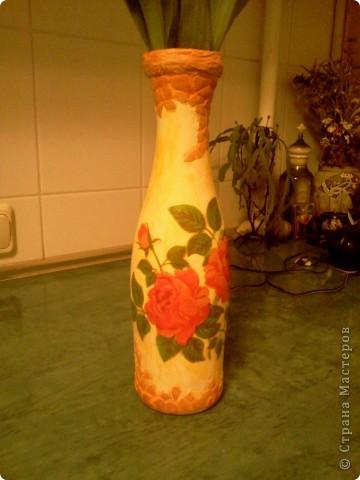 Превращение стекляной бутылки в симпатичную вазочку;) фото 2