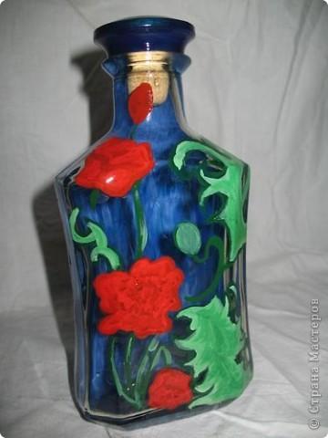 Бутылка обклеена шпагатом, акрилом нарисованные перышки и покрытые лаком. фото 4