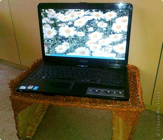 Вот такой столик под ноутбук я соорудила, чтобы ставить его на ноги, когда сижу перед телевизором, или в постель, чтобы смотреть фильмы онлайн. фото 1