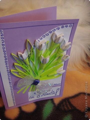 Объемная открытка квиллинг на 8 Марта фото 2