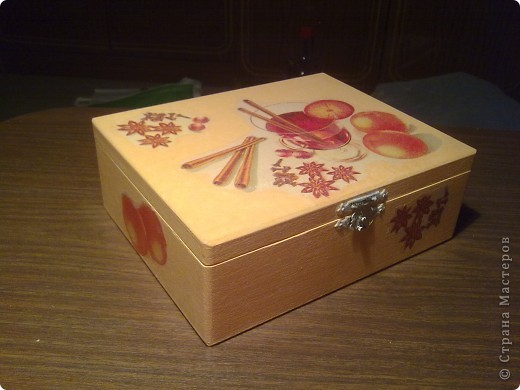 Чайная коробочка.Салфетка , акрил , лак. фото 1