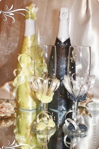 Свадебный набор выполнен с учетом пожеланий невесты - главный акцент - атласные ленты. Надеюсь получилось довольно-таки неплохо )) фото 1