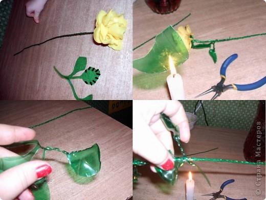 Здравствуйте, дорогие гости. Меня зовут Наталия, и я хочу представить небольшой мастер класс по созданию роз из пластиковых бутылок. Да, да – именно из них родных… и совершенно никому не нужных пластиковых бутылок.  Для работы нам понадобятся : - бутылки желтых и зеленых цветов; - флористическая проволока; - ножницы и шило; - круглогубцы; - свеча и спички; фото 7