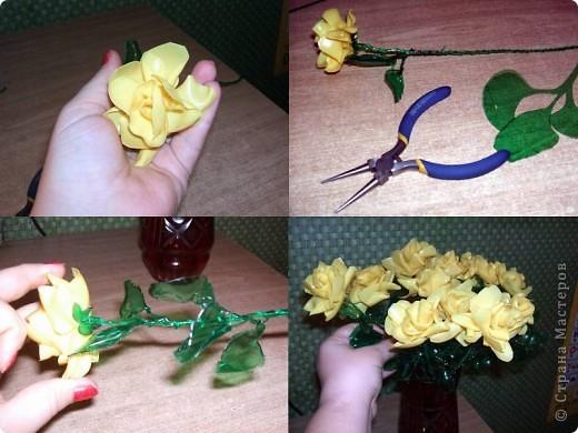 Здравствуйте, дорогие гости. Меня зовут Наталия, и я хочу представить небольшой мастер класс по созданию роз из пластиковых бутылок. Да, да – именно из них родных… и совершенно никому не нужных пластиковых бутылок.  Для работы нам понадобятся : - бутылки желтых и зеленых цветов; - флористическая проволока; - ножницы и шило; - круглогубцы; - свеча и спички; фото 8