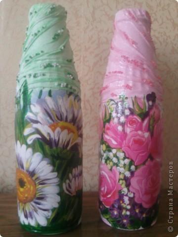 Здравствуйте, гости дорогие!))) Рада представить Вам свои новые и неочень работы! Такие бутылочки-вазы я задекупажила!  фото 1