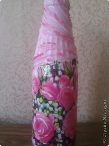Здравствуйте, гости дорогие!))) Рада представить Вам свои новые и неочень работы! Такие бутылочки-вазы я задекупажила!  фото 2