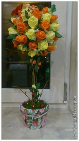 По просьбам желающих сделала МК Деревца из роз.Сразу оговорюсь, своего почти ничего не выдумала,всё нашла в нашей Стране,отличный МК роз есть у ...Валентины...,огромное ей СПАСИБО! Просто покажу как это делаю я. Итак начнём... фото 1