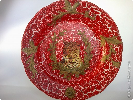 Такая тарелочка у меня получилась, салфетки с гепардом уже давно у меня лежали, когда-то заказывала их через интернет-магазин. фото 1