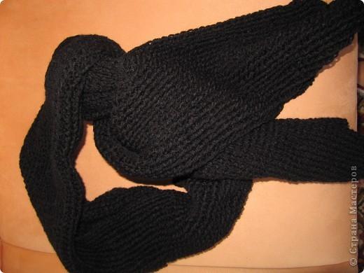 Вот такой шарфик связала для сына. правда на черном не видно вязки. но.. заказ есть заказ! фото 1