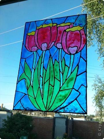 Здравствуйте, купили летом витражные краски Луч и украсили окна в доме у тёщи. фото 7