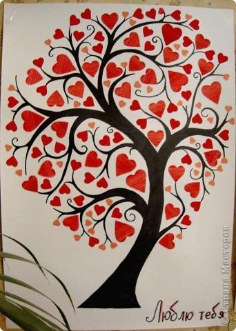И пришло мне вдохновение в канун 14 февраля..) И как начала я рисовать до ночи..) И получилось вот такое дерево фактурное..) фото 1