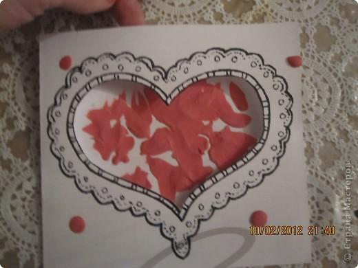 открытки на 14 февраля. я распечатала картинки, вырезала сердечки, предложила сыну зарисовать внутреннею часть открытки. фото 4