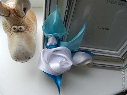 Очень спешила вчера сделать рамку, чтобы сегодня подруге подарить. Цветы и бабочка выполнены в технике канзаши.  фото 2