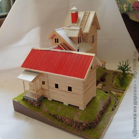 Макет дачного дома с кусочком прилегающей территории. Уже готов первый этаж, баня с верандой. фото 5