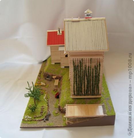 Макет дачного дома с кусочком прилегающей территории. Уже готов первый этаж, баня с верандой. фото 6