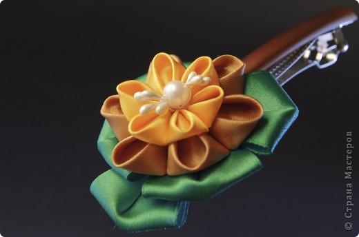 я сделала этот цветок на 3-й день после моего первого знакомства с канзаши )  фото 19