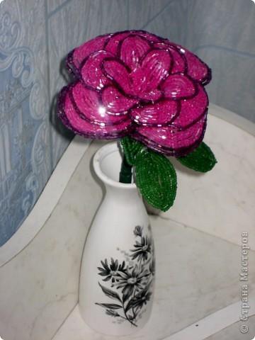 Этой розой я не очень довольна, все-таки из бисера делать лучше, чем из рубки фото 1