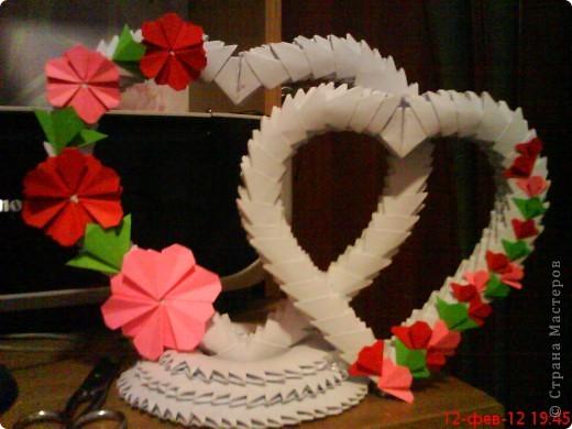 Поделка изделие Оригами китайское модульное сердца Бумага фото 2