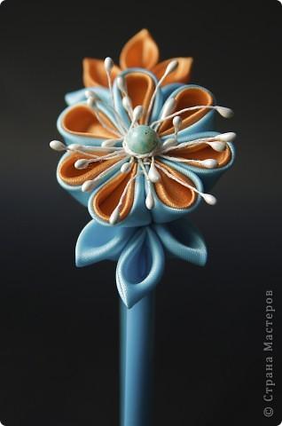 я сделала этот цветок на 3-й день после моего первого знакомства с канзаши )  фото 22