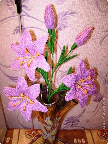 Лилии крючком Нитки