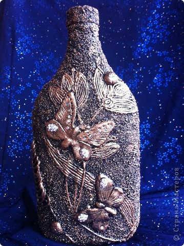 Декор предметов Аппликация из скрученных жгутиков Бутылочка имитация металла  и снова ПЕЙП-АРТ Бутылки стеклянные Глина Клей Салфетки фото 1