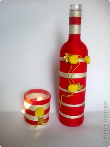 Такой вот наборчик. Бутылка и стаканчик обмотаны нитками. фото 1