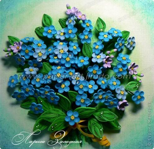 Добрый день мастера и жители Страны Мастеров!!! Давно мечтала о незабудках, таких маленьких, нежных цветочках, они как глазки у детишек или как бездонное море, такие голубые-голубые..  И вот она!!! Работой я  осталась довольна, очень люблю делать такие цветочки. фото 2