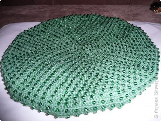 Вязание крючком - Второй берет с бисером Малахитовая шкатулка.