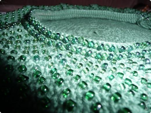 Гардероб Вязание крючком Второй берет с бисером Малахитовая шкатулка Бисер Нитки фото 4.