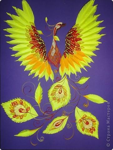 Картина панно рисунок Квиллинг Жар птица и декор стен Булавка английская Бумажные полосы Картон Клей фото 1