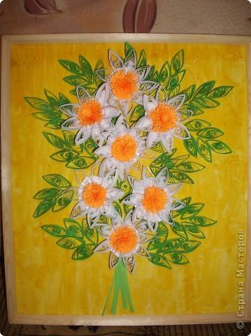 """Моя картина с ромашками. Мне очень сильно нравятся цветы """"ромашки"""". Я просто обожаю их.  фото 2"""