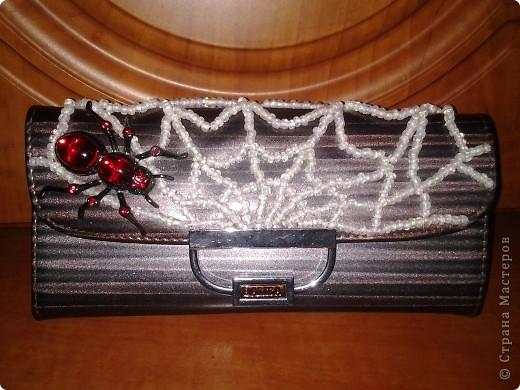 Декор предметов Бисероплетение Вышивка паук на паутинке Бисер фото 2.