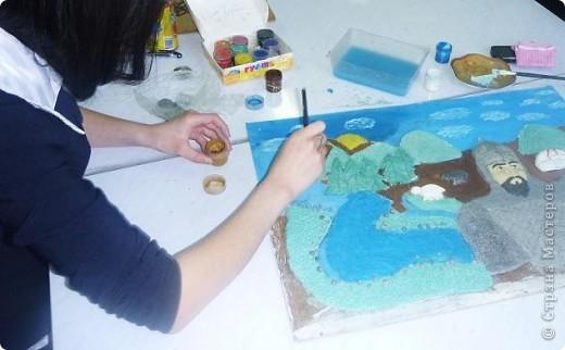 Мои ученицы слепили картину казахского батыра из соленого теста. фото 13