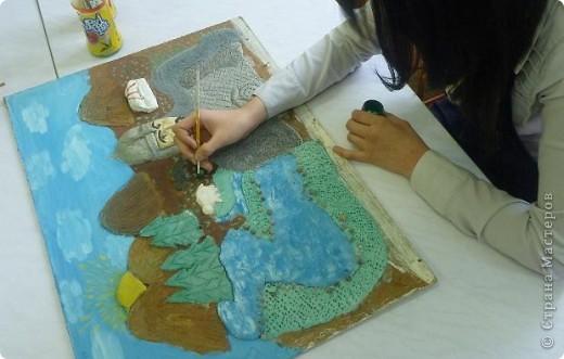 Мои ученицы слепили картину казахского батыра из соленого теста. фото 14