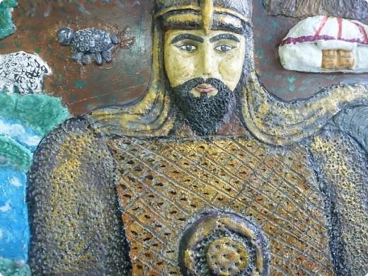 Мои ученицы слепили картину казахского батыра из соленого теста. фото 9