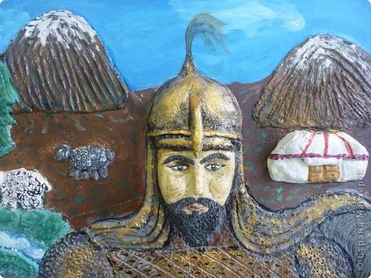 Мои ученицы слепили картину казахского батыра из соленого теста. фото 8