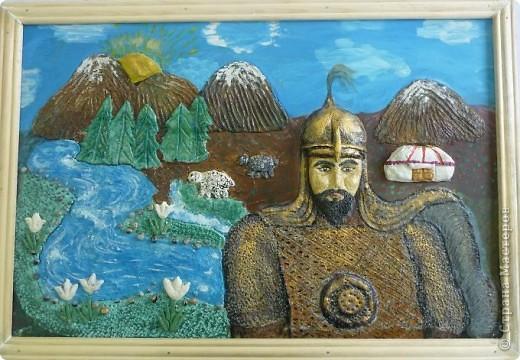 Мои ученицы слепили картину казахского батыра из соленого теста. фото 7