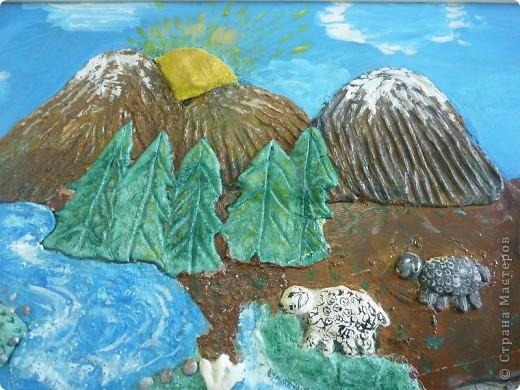 Мои ученицы слепили картину казахского батыра из соленого теста. фото 5