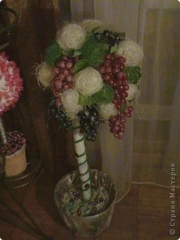 Топиарий- типо виноградное дерево, правда такого не бывает, а у меня дома вот выросло. Идея созрела давно, да и гроздья винограда лежали, да все не доходили руки, а тут у мастерицы увидела, что из таких же веточек сделано дерево, вот и решила тоже вырастить такое дерево. https://stranamasterov.ru/node/351148?c=favorite фото 1