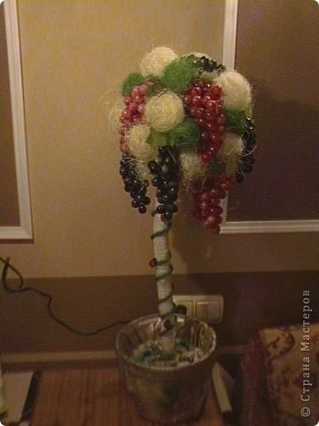 Топиарий- типо виноградное дерево, правда такого не бывает, а у меня дома вот выросло. Идея созрела давно, да и гроздья винограда лежали, да все не доходили руки, а тут у мастерицы увидела, что из таких же веточек сделано дерево, вот и решила тоже вырастить такое дерево. https://stranamasterov.ru/node/351148?c=favorite фото 25