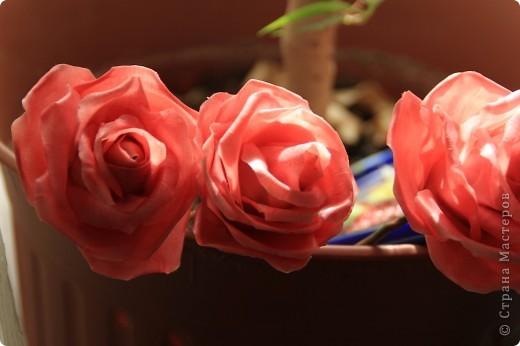 Вот, сделала наконец-то розы в живую величину, я имею ввиду сам бутон, .... стебель пока не обкатала, некогда, листики тоже в процессе, но потом добавлю, что в результате получилось. Дальше разные ракурсы и судить вам))) фото 3
