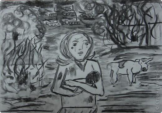 """Приближается праздник Великой Победы. Ребятам была предложена тема """"Дети в Великой Отечественной войне"""". (уголь,  рисунок Тани Даньшиной, 7класс, уголь) фото 1"""