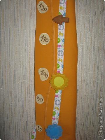 Вот такой жирафик для хранения детских подвигов получился... В высоту - 140 см, шкала от 70 до 140, хватит надолго))) фото 4