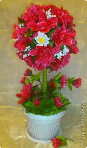Увидела у Черного Жемчуга топиарчики из искусственных цветочков и т-а-ак захотелось попробовать. Побежала на рынок за цветами, купила (какие были) фото 5