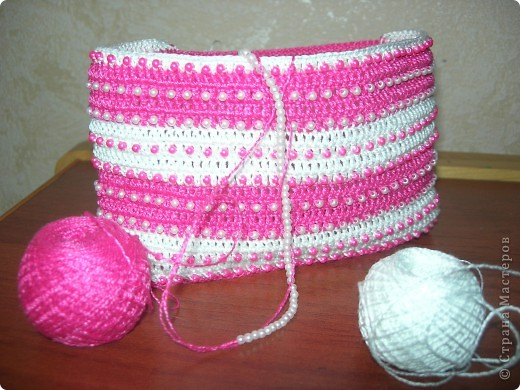 """Вот такая связалась сумочка для двух-годовалой дочки. """"Зефирно-гламурная"""" фото 4"""